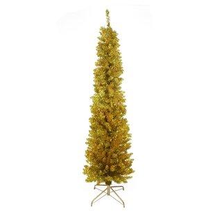 6 Gold Artificial Christmas Tree 150 Clear Lights With Stand And Tinsel Branches
