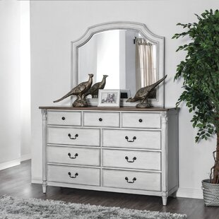Jean 9 Drawer Double Dresser with Mirror