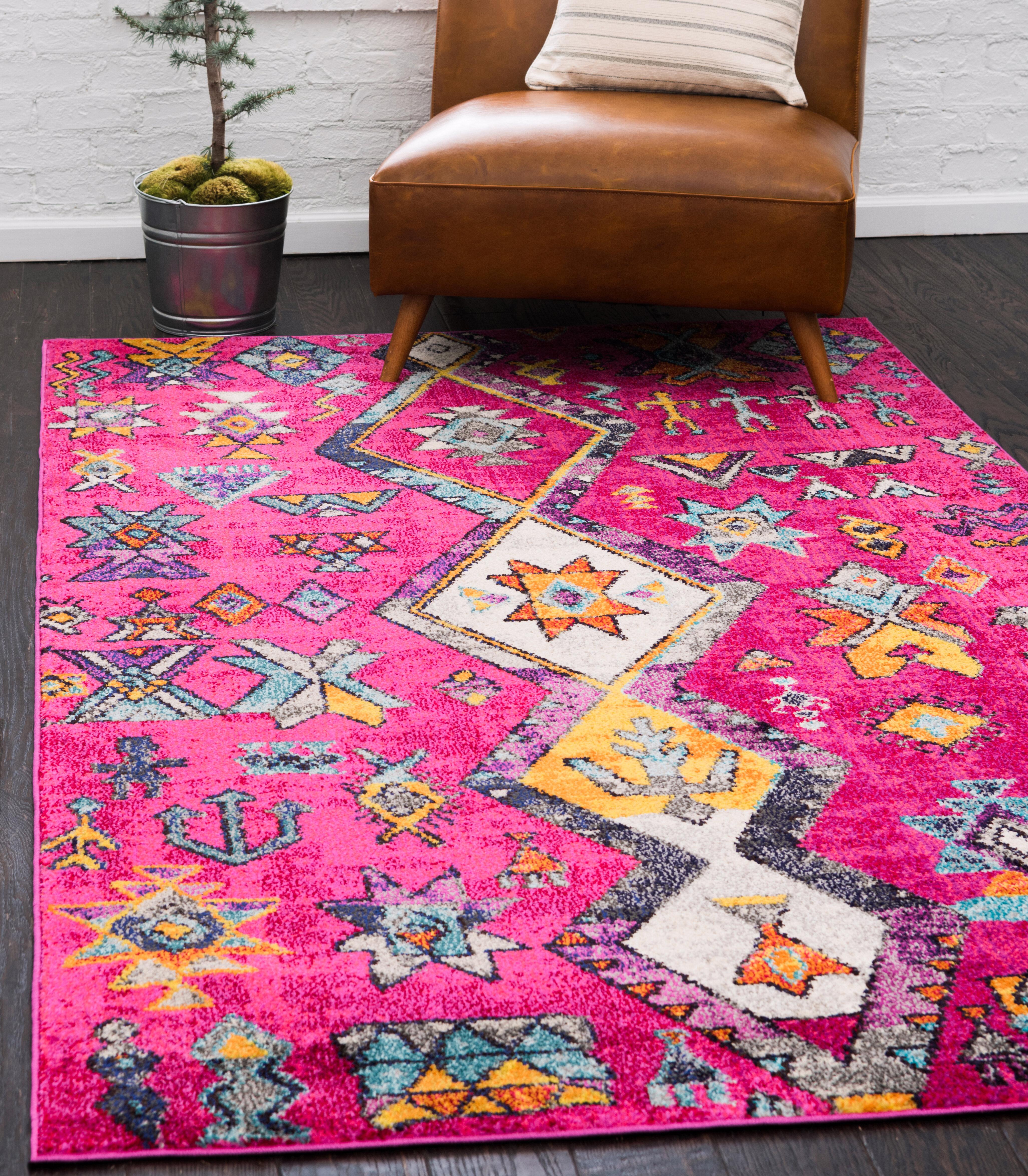 Bungalow Rose Giroux Southwestern Pink Area Rug Reviews Wayfair Ca