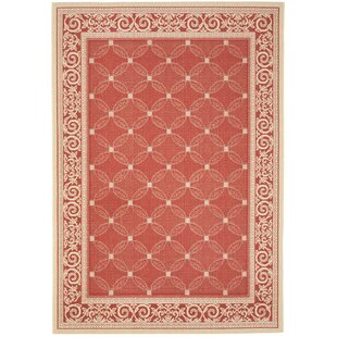 Short Red Indoor/Outdoor Area Rug