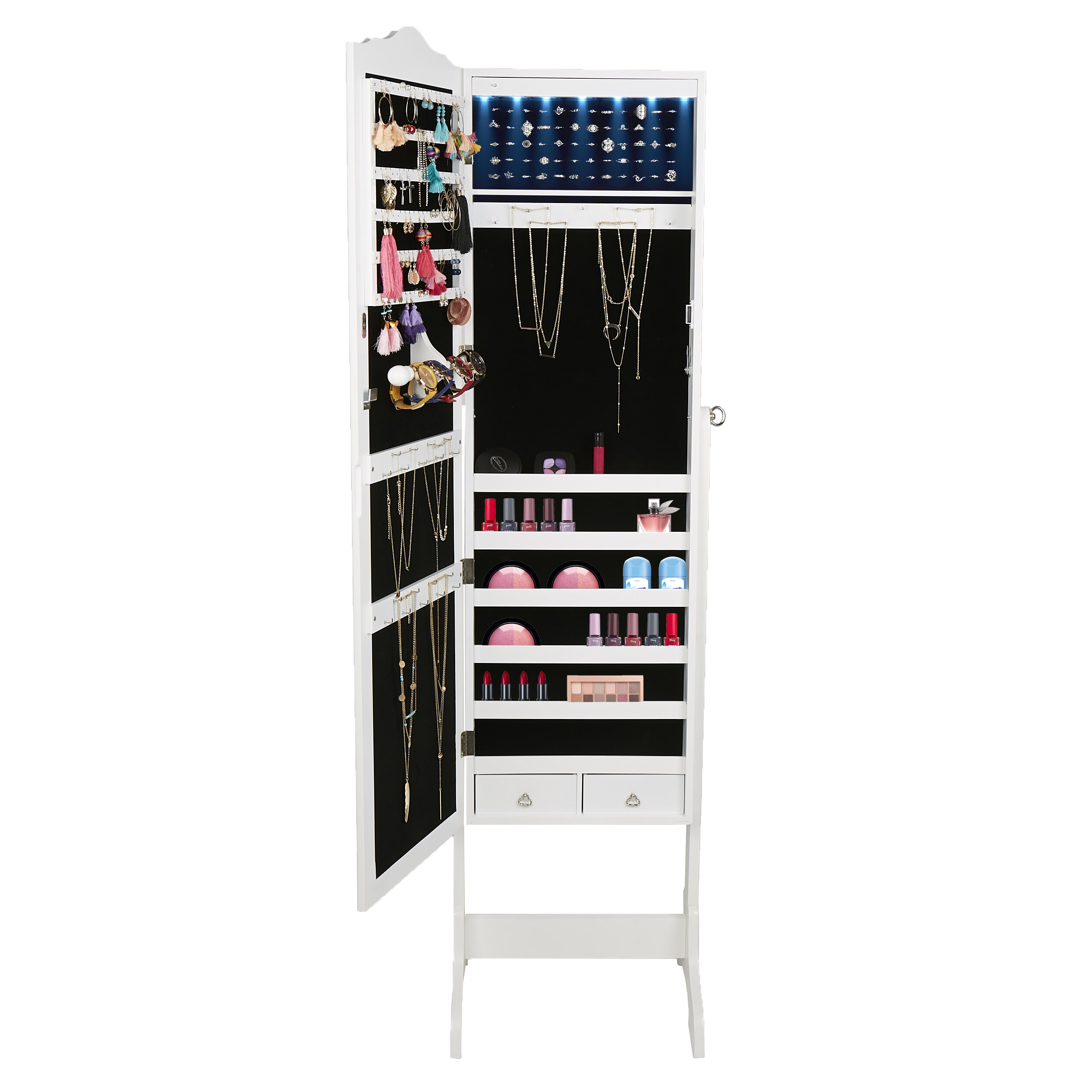 Mind Reader Free Standing Jewelry Armoire With Mirror Reviews Wayfair