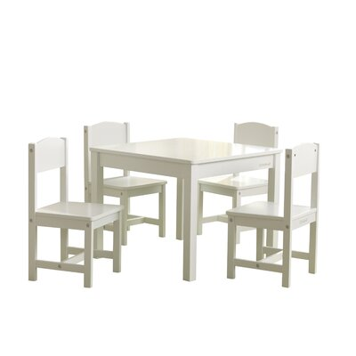 KidKraft Farmhouse Kids 5 Piece Writing Table and Chair Set Color: White