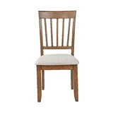 Drumraw Upholstered Solid Wood Slat Back Side Chair in Chestnut (Set of 2) by Red Barrel Studio®