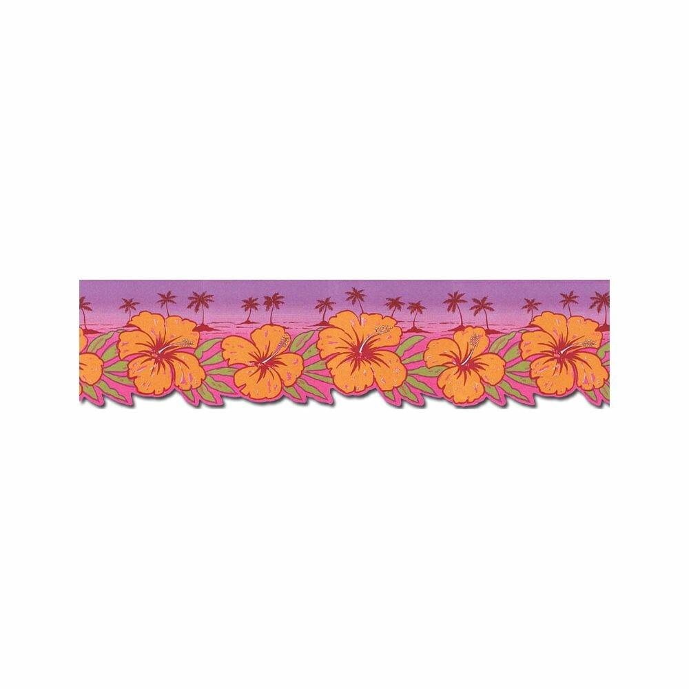 Tousignant Hibiscus Flowers 15 L X 6 88 W Wallpaper Border