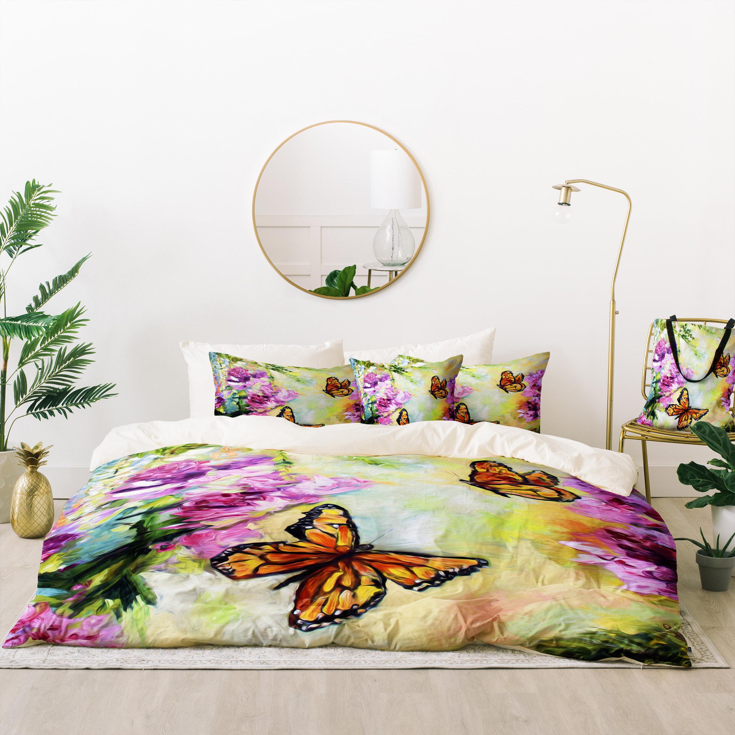 East Urban Home Ginette Fine Art Butterflies And Peonies Duvet Cover Set Wayfair