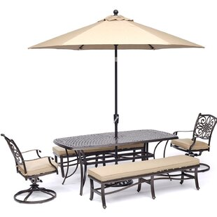Behnke 5 Piece Dining Set with Umbrella
