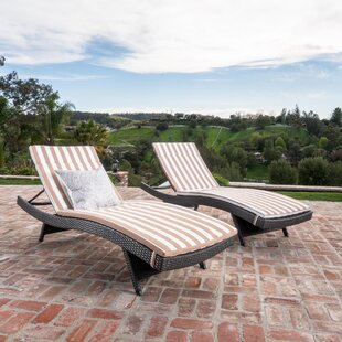 Brezza Wicker Chaise Lounges with Cushion (Set of 2)