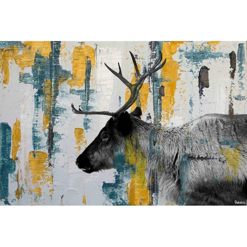Parveztaj Teal Yellow Reindeer By Parvez Taj Wrapped Canvas Print Wayfair