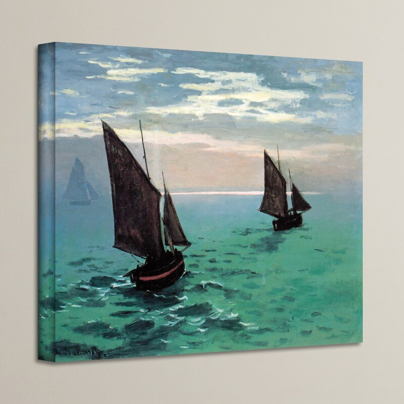 Claude Monet Cliffs and Sailboarts Canvas Modern Home Office Wall Art Box