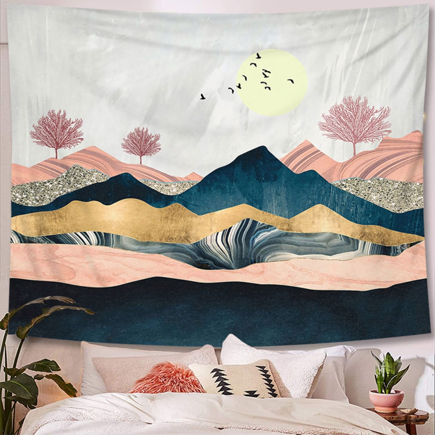 Landscape Waterfall Tapestry New Room Wall Hanging Tapestries Home Dorm Decor LB