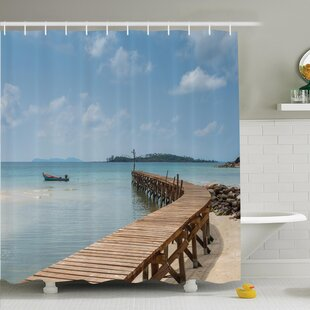 Nautical Wooden Bridge to Sea Shower Curtain Set