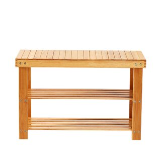 Bamboo 2 Tier Shoe Storage Bench