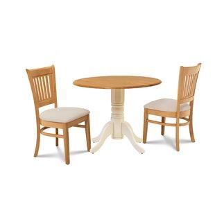 Millwood Pines Viggo 3 Piece Drop Leaf Dining Set