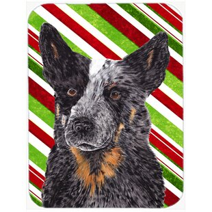 Australian Cattle Dog Candy Cane Holiday Christmas Glass Cutting Board ByEast Urban Home