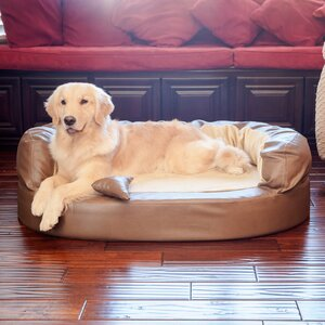 Luxury Orthopedic Memory Foam Leatherette Bolster Dog Bed