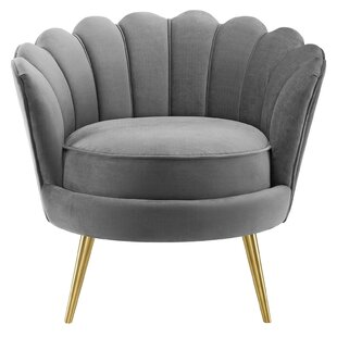 Demers Scalloped Edge Performance Velvet Accent Barrel Chair by Mercer41