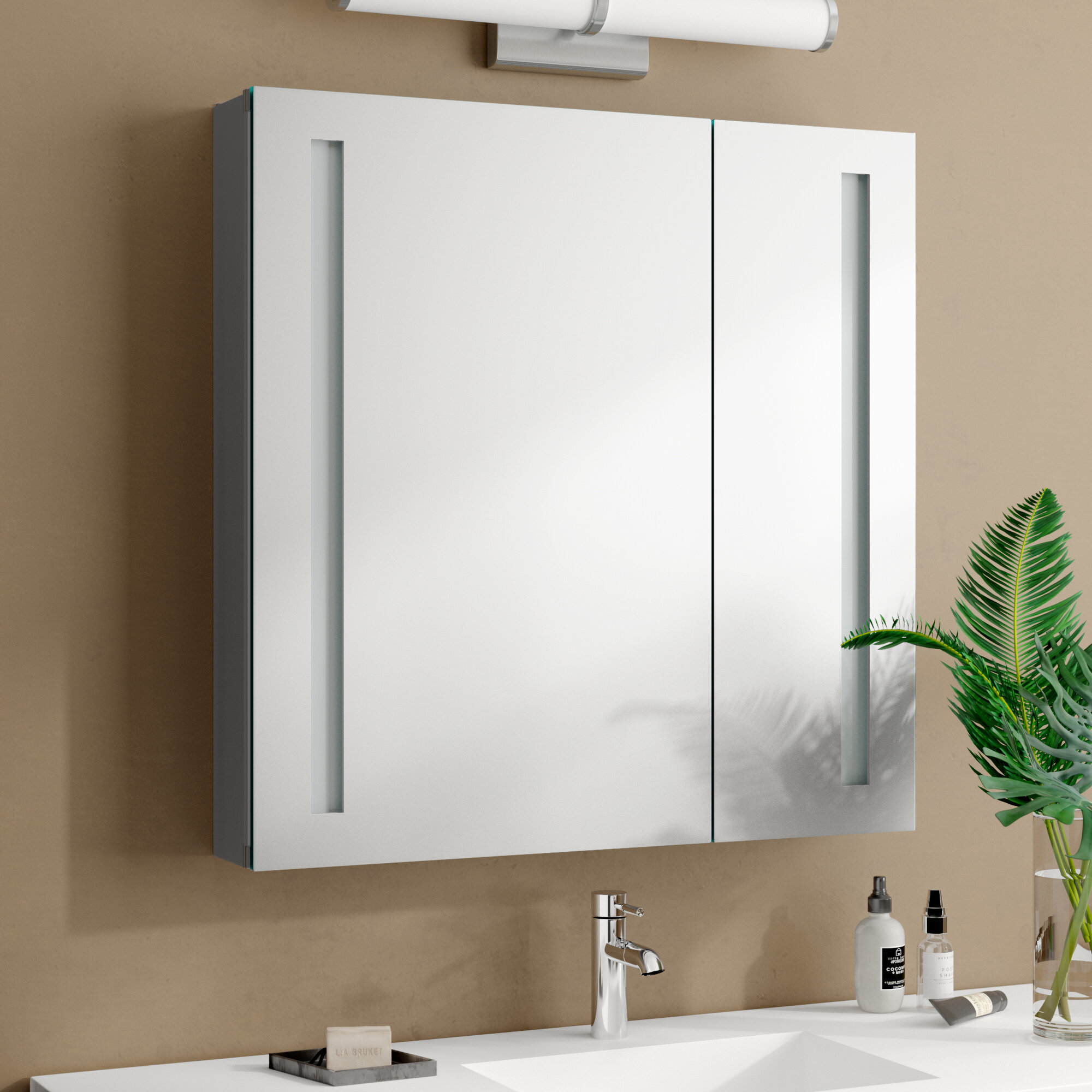 Orren Ellis Dili Recessed Or Surface Mount Frameless 2 Door Medicine Cabinet With 3 Adjustable Shelves And Led Lighting Reviews