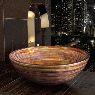Maestro Bath Graffiti Glass Circular Vessel Bathroom Sink