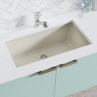 Review Engineered Stone 33 x 18 Undermount Kitchen Sink with Hardware by René By Elkay