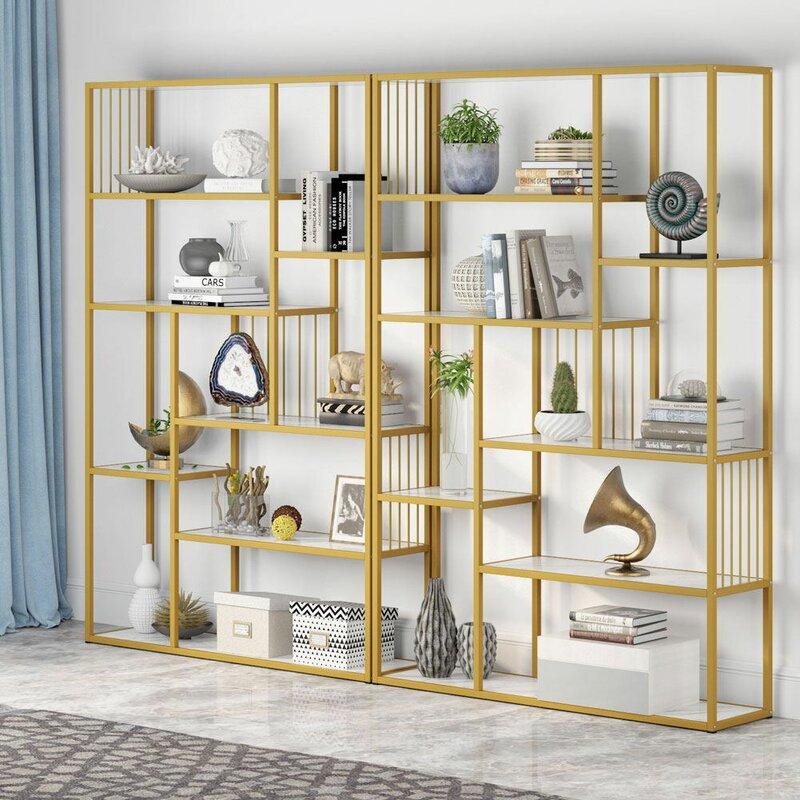 Everly Quinn Adalric Etagere Bookcase Wayfair