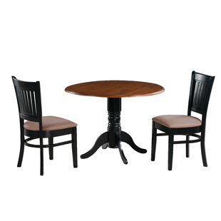 Pam 3 Piece Drop Leaf Solid Wood Dining Set Charlton Home