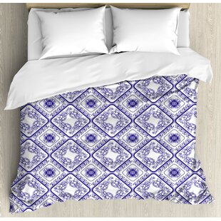 East Urban Home Decorative Arts and Craft Theme Flower Pattern on Porcelain Decorations for Home Print Duvet Set