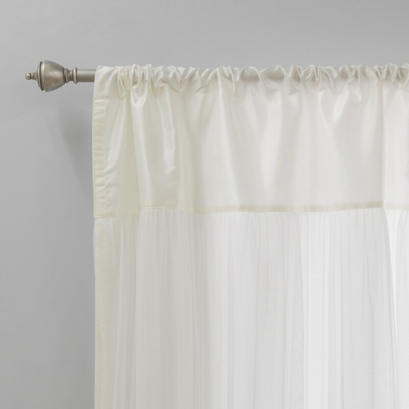Ariella Faux Silk Tulle Overlay Solid Semi Sheer Thermal Rod Pocket Curtain Panels