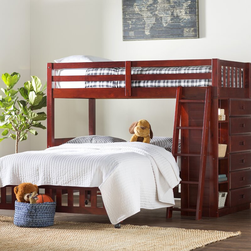 Greyleigh Twin Over Full 6 Drawer Solid Wood L Shaped Bunk Beds With Bookcases With Shelves Reviews Wayfair