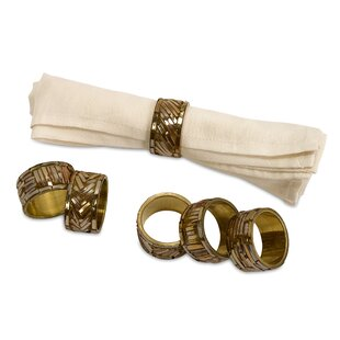 Gold Brass Napkin Rings (Set of 6)