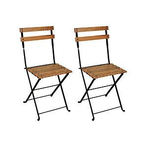 French Bistro European Café Folding Patio Dining Chair (Set Of 2)