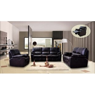 Agastya Reclining 3 Piece Leather Living Room Set by Red Barrel Studio