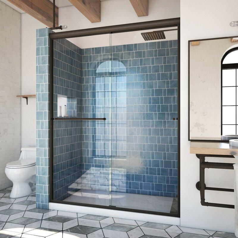 Arizona Shower Door Ese 60 X 76 38 Bypass Semi Frameless Shower Door Wayfair