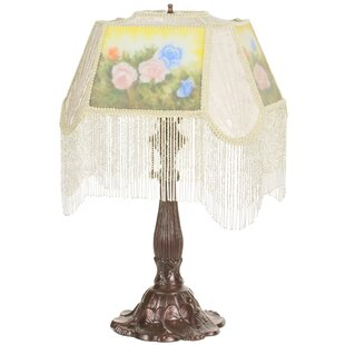 Reverse Painted Roses 23.5 Table Lamp