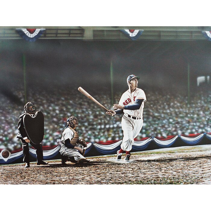 Ted Williams Swing Oil Painting Print On Wrapped Canvas