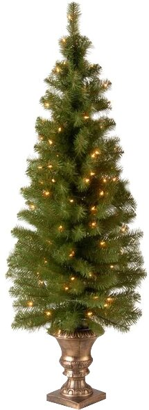 Image of Montclair Entrance Green Spruce Artificial Christmas Tree with 100 Pre-Lit Clear Lights with Urn Base up to 54% off