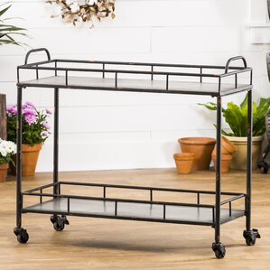 Quan 2-Tier Galvanized Metal Bar Cart by ..