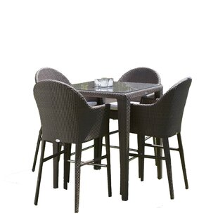 Beachcrest Home Mabel 5 Piece Bar Height Dining Set with Cushions