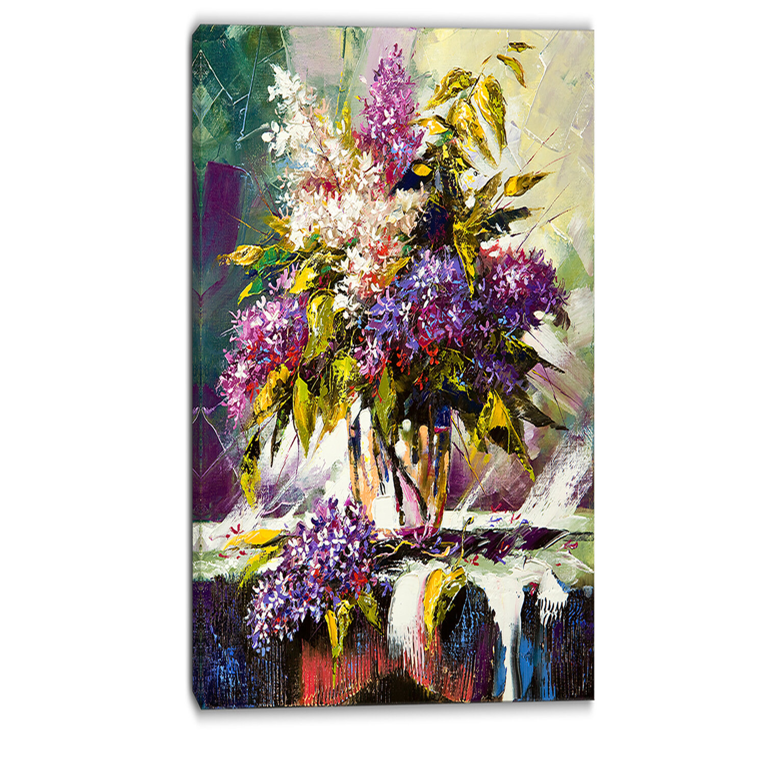 Designart Lilac Bouquet In A Vase Floral Painting Print On Wrapped Canvas Wayfair