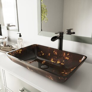 Inexpensive Glass Rectangular Vessel Bathroom Sink ByVIGO