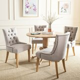Abby Tufted Linen Upholstered Side Chair in Taupe (Set of 2) by Lark Manor