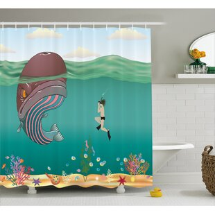 Ocean Shells Whale with Scuba Single Shower Curtain