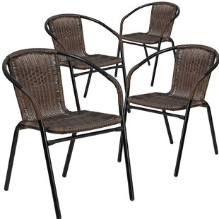 Three Posts Abrahamic Stacking Patio Dining Chair (Set of 4)