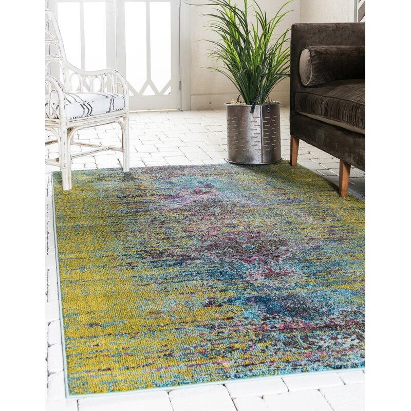 Mistana Wellton Abstract Green Area Rug Reviews Wayfair