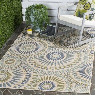 Caroline Gray/Ivory/Blue Indoor/Outdoor Area Rug