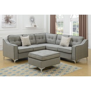 Izzie Linen-like Polyfabric Sectional with Ottoman