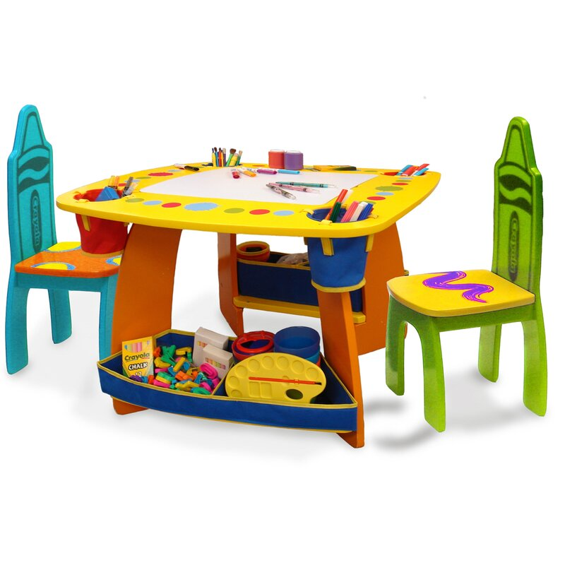 Grow N Up Crayola Kids 3 Piece Arts And Crafts Table And Chair Set