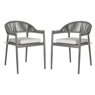 Loïc Rope Stacking Patio Dining Chair with Cushion (Set of 2)