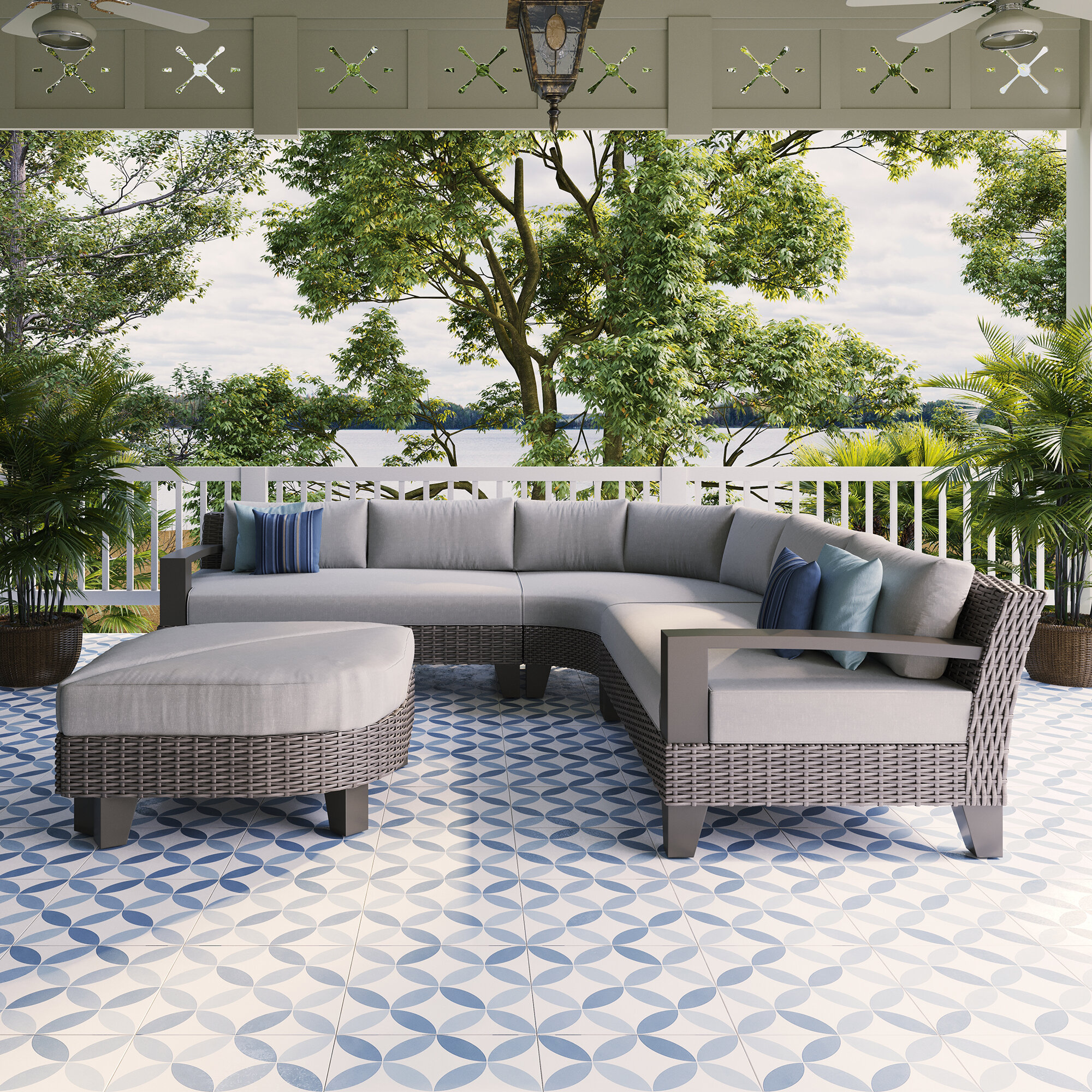 Martha Stewart Wicker/Rattan 4 - Person Seating Group with