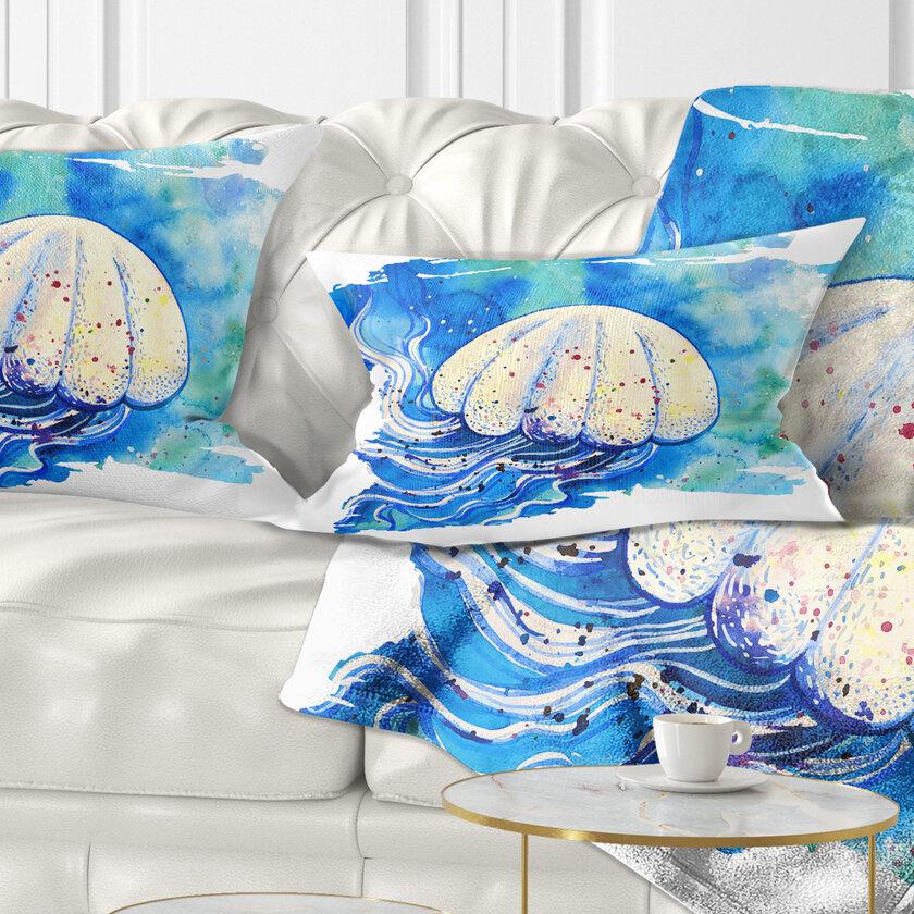 East Urban Home Abstract Jellyfish Watercolor Painting Lumbar Pillow Wayfair