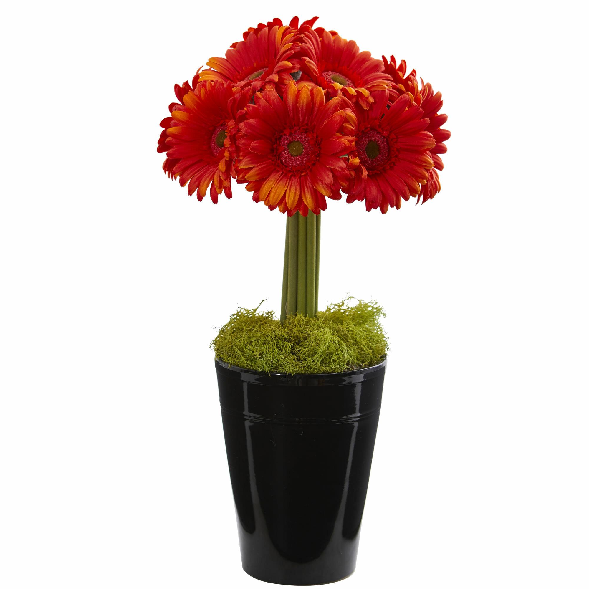 Ebern Designs Gerbera Daisy Artificial Floral Arrangement In Vase &